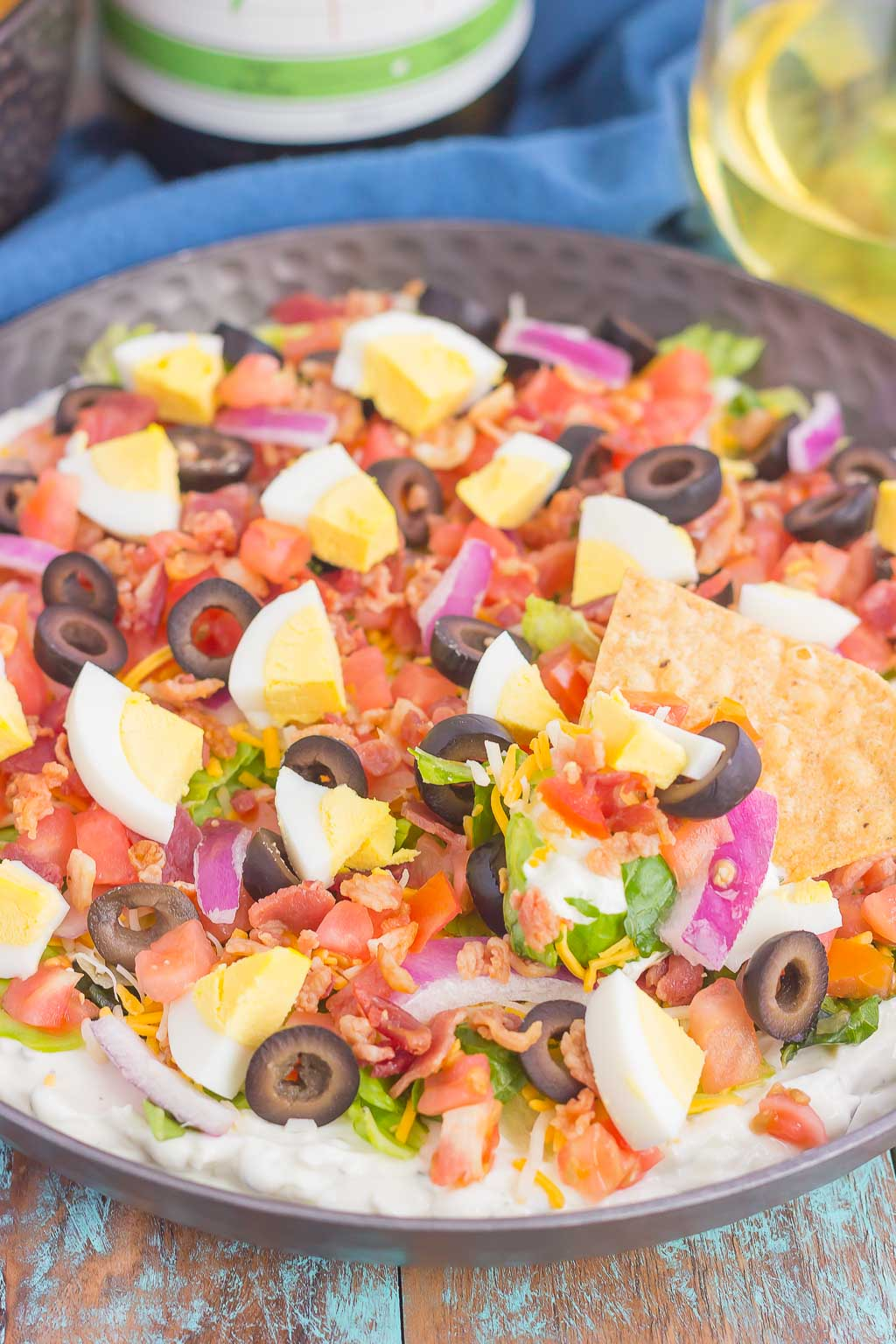 This Cobb Salad Dip is the perfect appetizer for parties, events, and get-togethers. A zesty ranch dip is loaded with the classic flavors of a Cobb salad and is sure to impress even the pickiest of eaters!