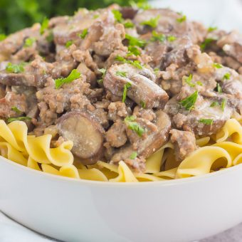 This One Pan Beef Stroganoff is packed with crumbled ground beef, tender mushrooms, and a rich and creamy sauce. Made with just a few ingredients and ready in just 30 minutes, you can have this easy dish ready to devour in no time!
