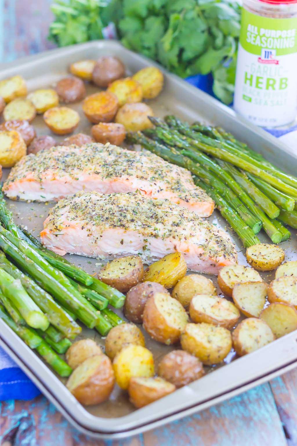 Sheet Pan Garlic Herb Salmon with Roasted Potatoes and ...