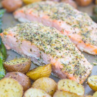 Sheet Pan Garlic Herb Salmon with Roasted Potatoes and Asparagus
