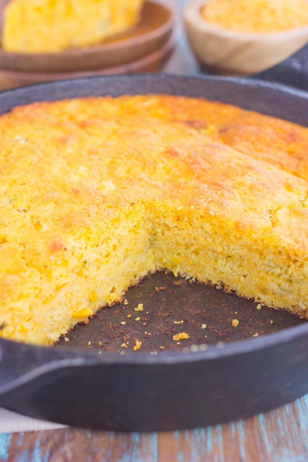 This Southwest Skillet Cornbread is the perfect combination of sweet and spicy that will be a favorite for years to come. Loaded with cheddar cheese, green chiles, and creamed corned, this easy cornbread bakes up moist, tender, and full of flavor!