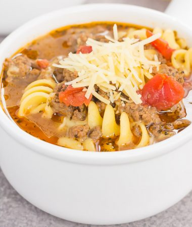 This One Pot Lasagna Soup is tastes just like the classic dish, but without all of the prep work. Everything is tossed into one pot and then simmered until the flavors blend together. Easy to make and full of simple ingredients, this hearty soup will be a meal-time winner all year long!