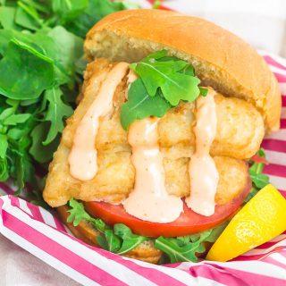 Crispy Fish Sandwich with Sriracha Mayo