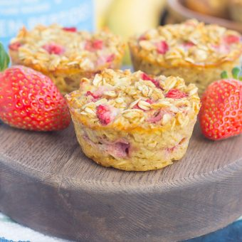 These Strawberry Banana Baked Oatmeal Cups are the perfect make-ahead breakfast for busy mornings. Packed with hearty oats, fresh strawberries and sweet bananas, this simple dish is easy to make, healthier, and loaded with flavor!
