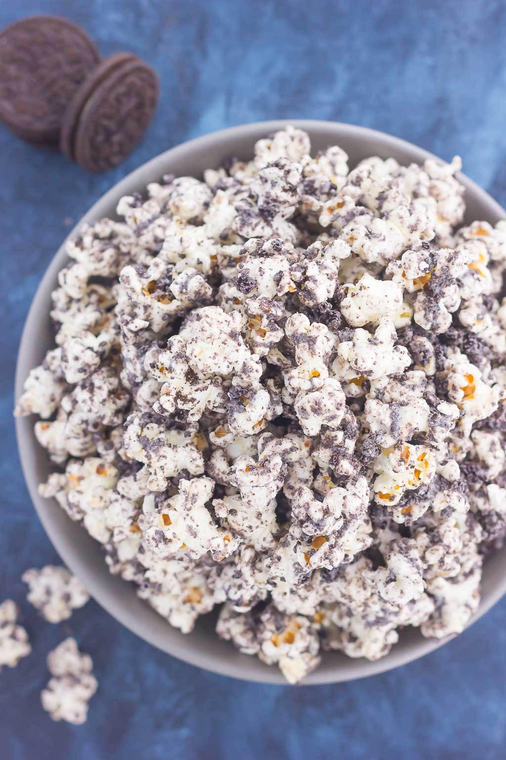 Overhead view of an overflowing bowl of Oreo popcorn.