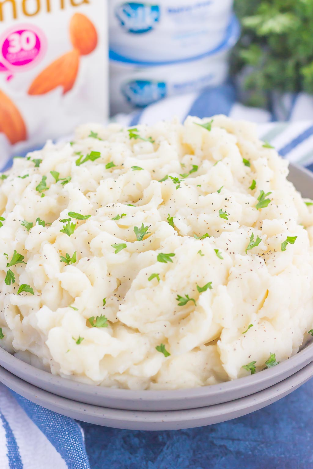 These Dairy-Free Garlic Mashed Potatoes are creamy, loaded with flavor, and made with no cream or butter. Tender potatoes are whipped to perfection and then sprinkled with seasonings and ready to serve. Easy to make and with simple ingredients, you'll never miss the dairy in this tasty side dish!