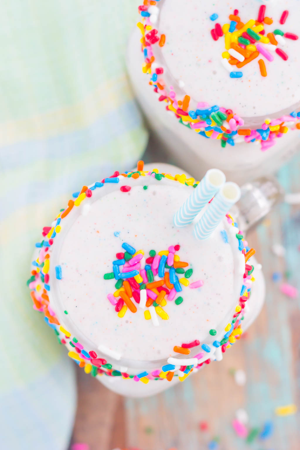 Creamy vanilla ice cream, swirled with funfetti cake batter mix creates this smooth and indulgent Funfetti Cake Batter Shake!