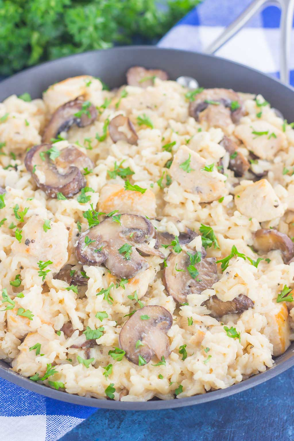 This One Pan Chicken and Mushroom Parmesan Rice is perfect for busy weeknights. Just a few simple ingredients is all it takes for this easy, one pan meal that's packed with flavor. It's guaranteed to be a favorite all year long!
