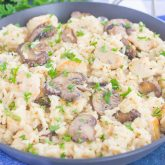 One Pan Chicken and Mushroom Parmesan Rice