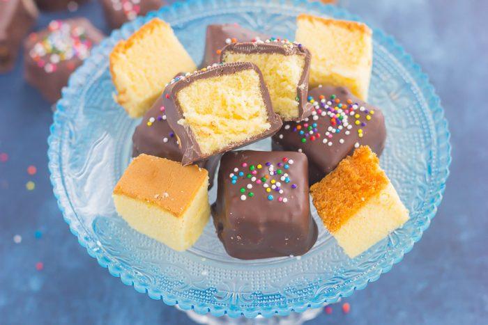 Chocolate Covered Pound Cake Bites