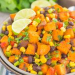 This Southwestern Sweet Potato Salad is loaded with roasted chile lime sweet potatoes, black beans, corn, cilantro, and tossed in a light honey lime dressing. It's perfect forpicnics, barbecues andsweet potatolovers everywhere!
