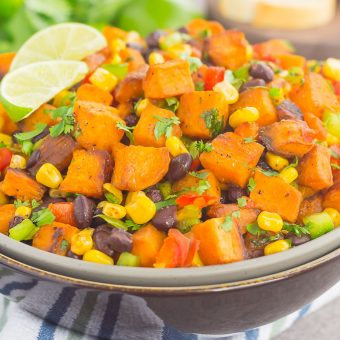 This Southwestern Sweet Potato Salad is loaded with roasted chile lime sweet potatoes, black beans, corn, cilantro, and tossed in a light honey lime dressing. It's perfect for picnics, barbecues and sweet potato lovers everywhere!