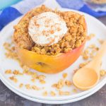 These Baked Apples with Granola make a simple breakfast, mid-morning snack, or easy dessert. Sweet apples are filled with a brown sugar granola mixture and then baked until tender. Top them with a dollop of ice cream or whipped cream and you'll be baking these over and over again!