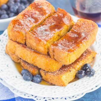 Baked Cinnamon Sugar French Toast Sticks make an easy breakfast that's loaded with flavor. Simple to prepare and baked in the oven, you can have these sticks ready to serve in no time, with a side of syrup for dunking!
