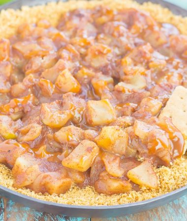 This Easy Caramel Apple Pie Dip tastes just like the classic pie, but without all of the prep work. Fresh apples are tossed with spices and then sautéed until tender. Drizzled with caramel and loaded onto a buttery graham cracker crust, this simple dessert is loaded with fall flavors!
