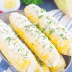 Parmesan Herb Corn on the Cob in a silver tray
