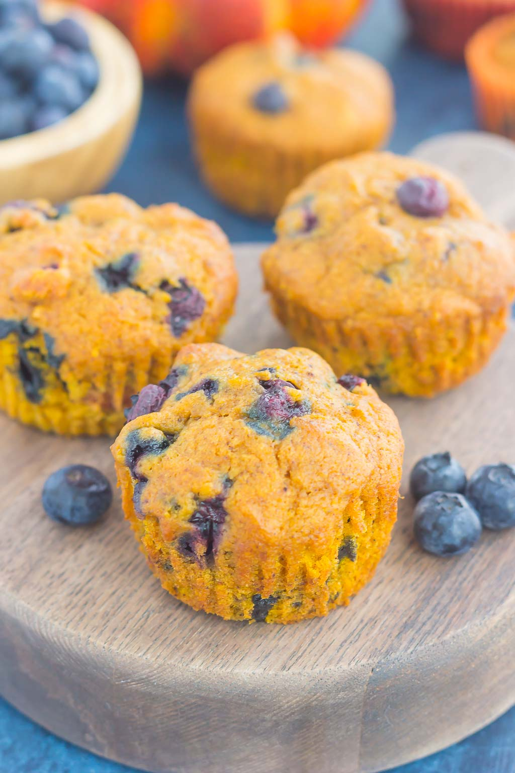 These Pumpkin Blueberry Muffins are soft, moist and bursting with cozy fall flavors. Packed with sweet pumpkin and juicy blueberries, this easy treat makes the perfect fall breakfast or snack!