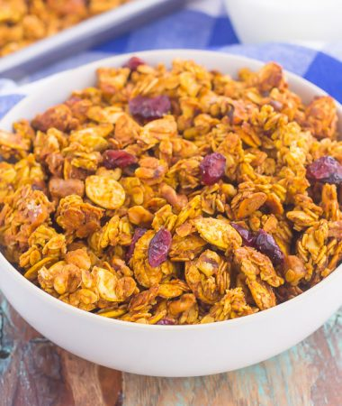 This Pumpkin Spice Granola is a delicious way to savor the flavors of fall. Hearty oats, crunchy walnuts, dried cranberries and fall spices give this granola both texture and flavor. It's simple to make and perfect to eat by the handful, with milk, or on top of yogurt or ice cream!