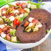 Avocado Caprese Burger Salad