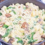 This One Pan Chicken and Spinach Gnocchi is perfect for an easy weeknight meal. Tender gnocchi is paired with shredded chicken, mushrooms and fresh spinach, and then tossed in a light parmesan cream sauce. Simple to make and full of flavor, this comforting dish will be a favorite all year long!