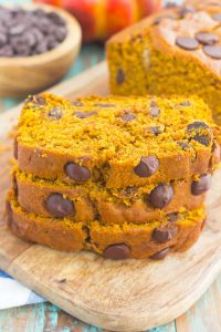 stacked sliced of chocolate chip pumpkin bread