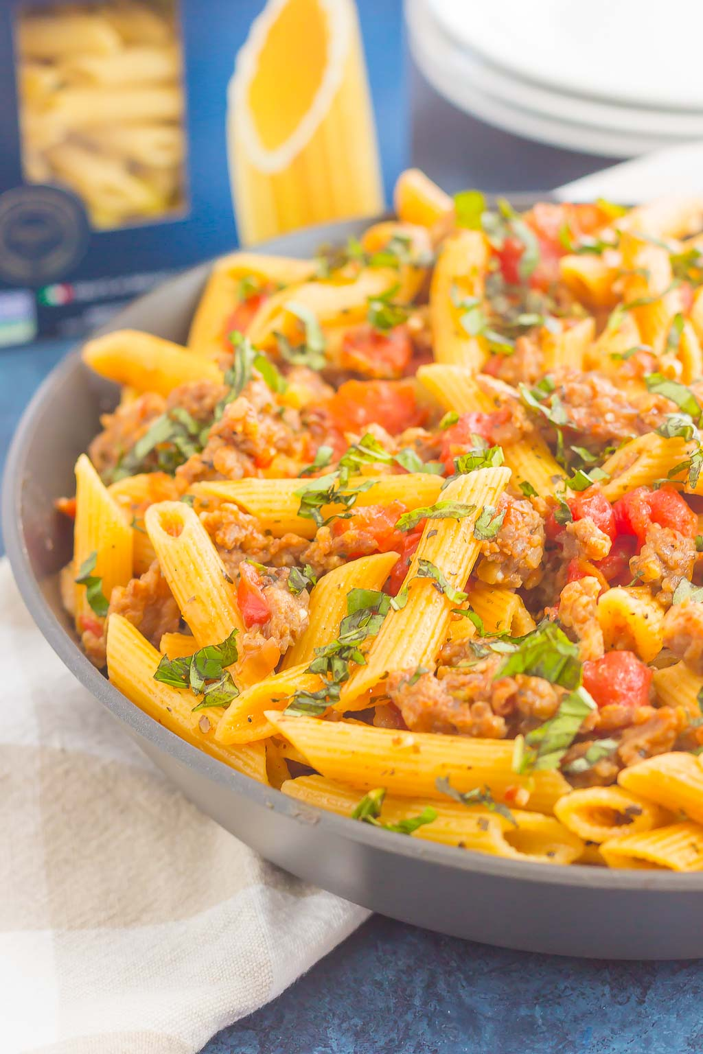 italian sausage pasta in large gray bowl