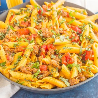 This Tomato Basil Pasta with Italian Sausage isan easy, one pan meal that's perfect for busy weeknights. Filled with tender pasta,Italian sausage, and tossed in a simple tomato basil sauce, this dishis readyin less than 30 minutes and will become a newdinnertime favorite!