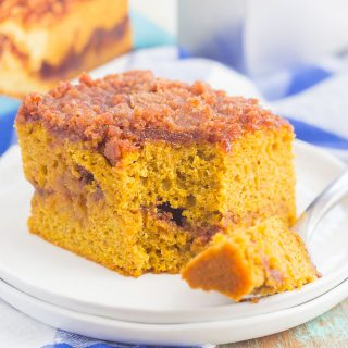 This Gluten Free Pumpkin Cinnamon Crumb Cake requires just a few ingredients and is ready in no time. Fluffy pumpkin cake is swirled with a sweet cinnamon streusel and then baked until golden. This easy cake is perfect to serve at all of your holiday gatherings!