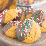 These Dark Chocolate Dipped Gingerbread Cookies are soft, sweet and perfect for the holidays. Made in one bowl and topped with decadent dark chocolate, this easy cookie will quickly become a new favorite!
