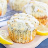 Lemon Poppy Seed Muffins with Cream Cheese Glaze