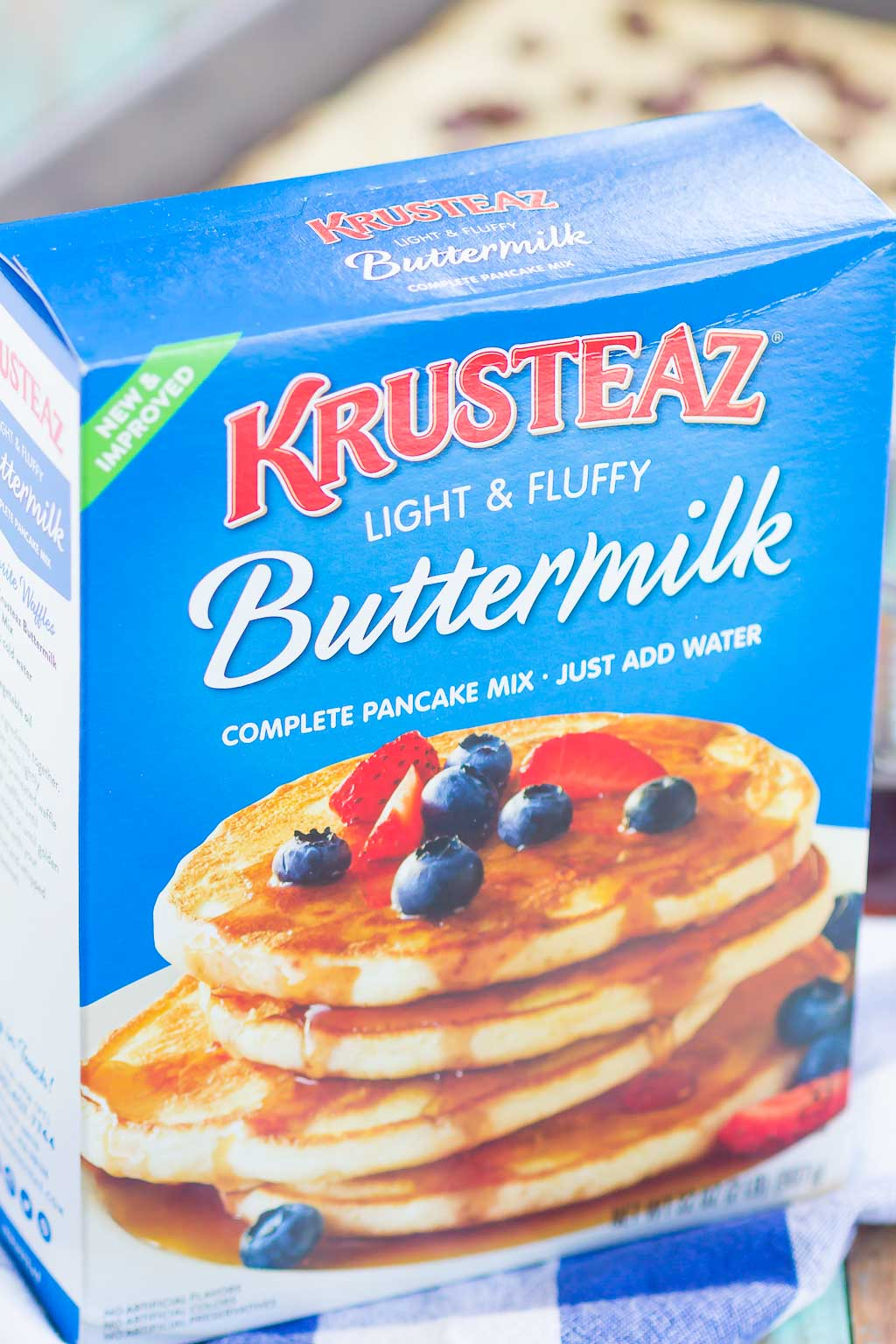 box of Krusteaz pancake mix