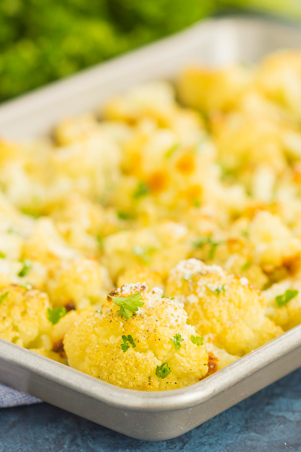 roasted garlic cauliflower on a baking tray