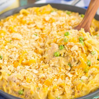 This Tuna Skillet Casserole is an easy, one pan meal that's ready in just 30 minutes. Creamy, warm and hearty, this classic dish will quickly become a dinner-time favorite!