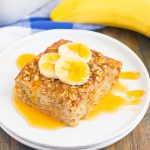 This Baked Banana Bread Oatmeal is filled with hearty oats, sweet bananas, and just the right amount of spices. It's the perfect dish to make on the weekend and slice up for your weekday breakfast!