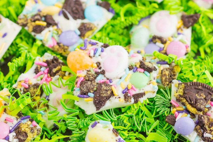 Easter Bunny Bark is filled with creamy white chocolate, Oreo cookies, and your favorite candy. Easy to make and ready in no time, this festive treat is perfect for springtime!