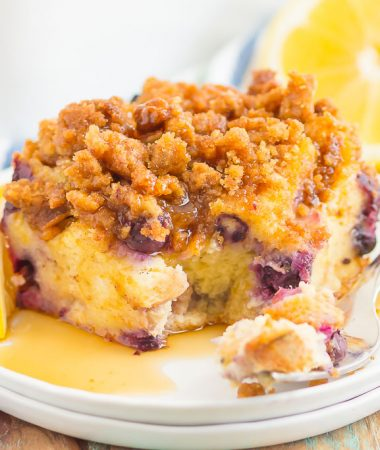 This Blueberry Lemon French Toast Bake is a simple, make-ahead breakfast that's loaded with flavor. Filled with slices of french bread, sweet blueberries and sprinkled with an irresistible streusel topping, this dish is perfect to assemble the night before and then bake the next morning!