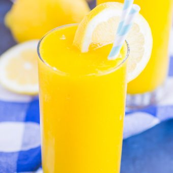 Frozen Mango Lemonade is a delicious way to beat the summer heat. With just four ingredients and ready in less than 5 minutes, you'll love the cool and creamy flavor of sweet mango and tart lemons!