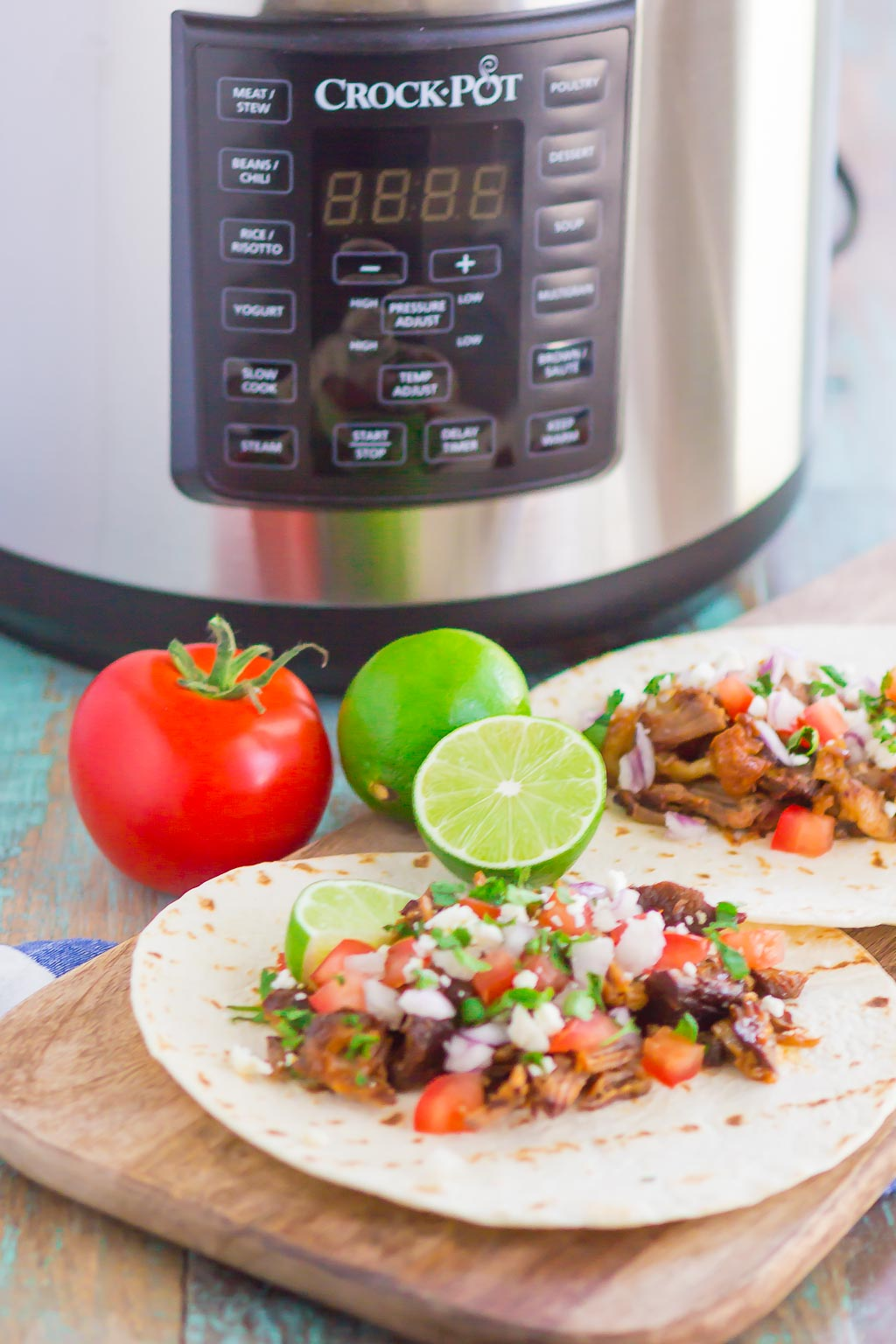 Honey Barbecue Pork Tacos are fast, fresh, and loaded with flavor. Made with just a few ingredients and ready in no time, this is the perfect meal to enjoy when you don't want to spend hours in the kitchen! #tacos #porktacos #honeybarbecue #instantpottacos