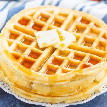 Fluffy Belgian Waffles are crispy on the outside, tender on the inside, and so easy to make. Just a few ingredients is all it takes to whip up these golden waffles, all with ingredients you have in your kitchen!