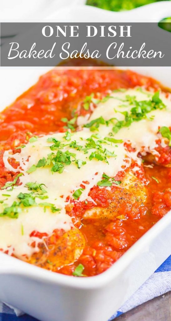 Baked Salsa Chicken is an easy, four ingredient dish that's made in just one pan. Tender chicken is sprinkled with taco seasoning and then baked with salsa and topped with melted cheese. Fast, fresh, and flavorful, it's a hearty meal that the whole family will enjoy! #chicken #salsa #salsachicken #bakedchicken #chickendinner #chickenrecipe #dinner #recipe