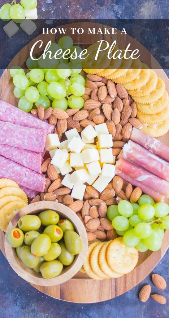 This Easy Cheese Board is the perfect appetizer that's ready in less than 10 minutes. With a delicious mix of meats, cheese, crackers, and more, this simple platter will wow just about everyone! #cheeseboard #cheeseboardideas #cheeseboardrecipe #cheeseplate #appetizer #snack