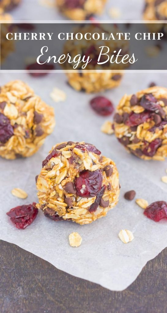 pin of energy bites on parchment paper