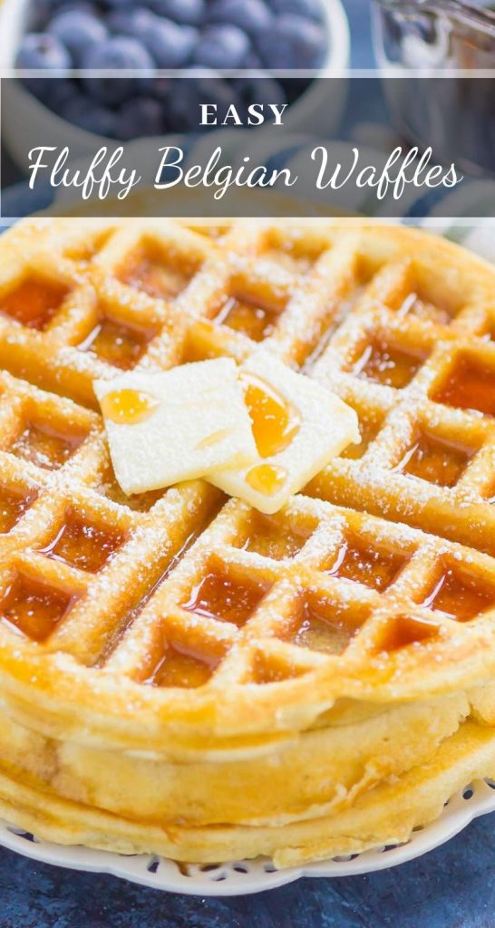 Fluffy Belgian Waffles are crispy on the outside, tender on the inside, and so easy to make. Just a few ingredients is all it takes to whip up these golden waffles, all with ingredients you have in your kitchen! #waffles #belgianwaffles #fluffywaffles #wafflerecipe #breakfast #recipe