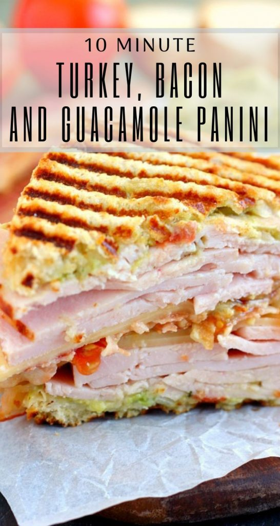pin for turkey panini with bacon and guacamole