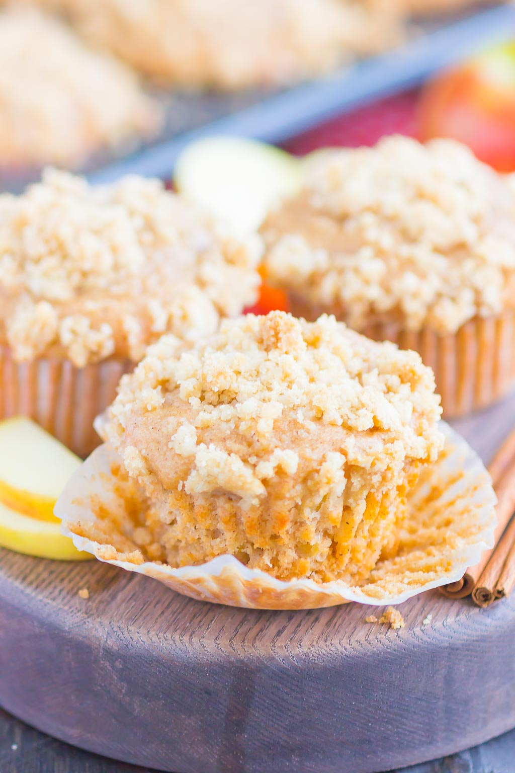 Apple Cinnamon Muffins are soft, moist, and bursting with cozy flavors. With tender chunks of fresh apples, a swirl of sweet cinnamon and a buttery, crunchy, streusel topping, these muffins make the best breakfast or dessert!