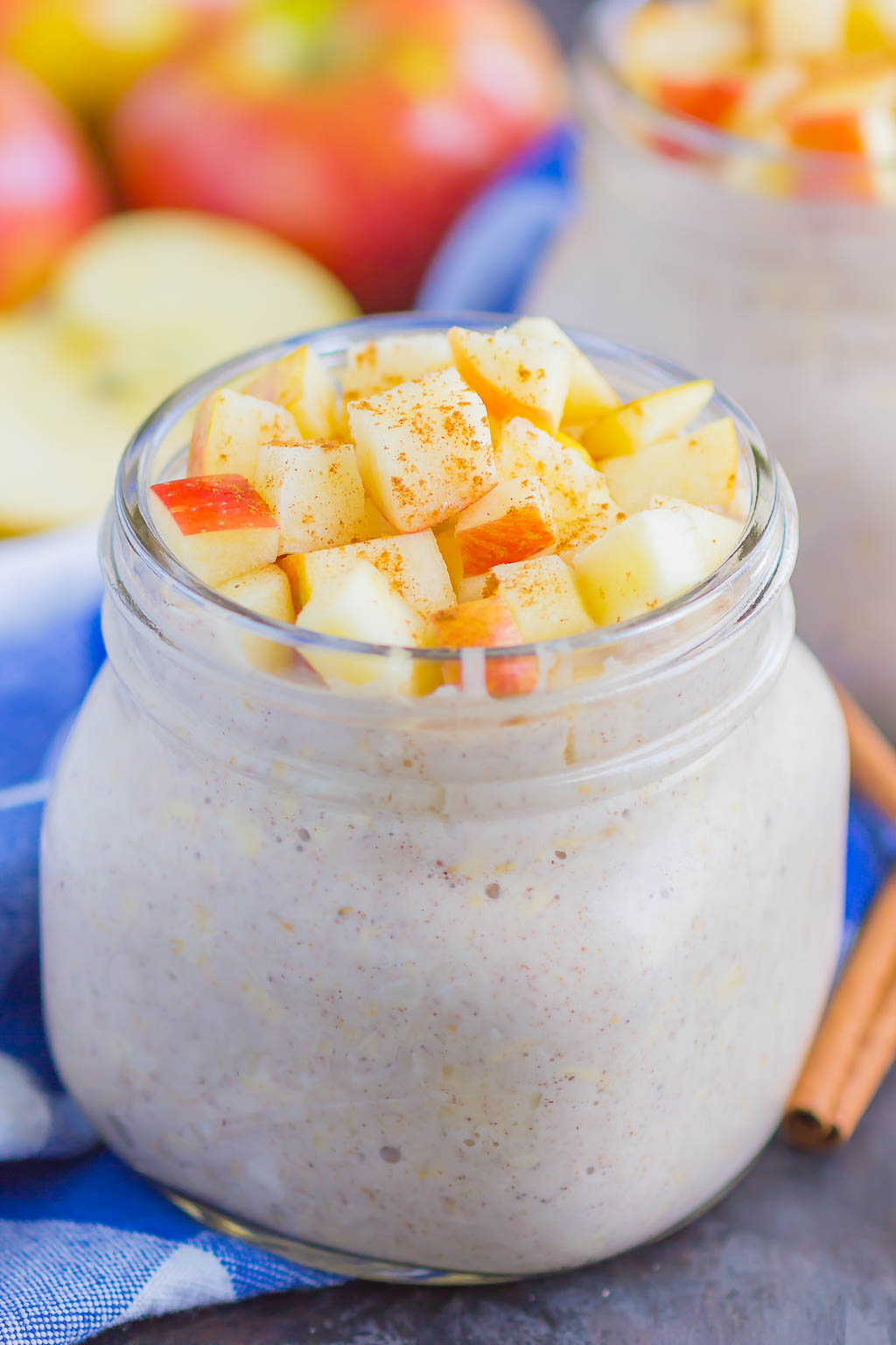 Apple Pie Overnight Oats are a simple, make-ahead breakfast for busy mornings. With just five minutes of prep time and no oven required, this hearty dish is filled with cozy flavors and perfect to keep you going all morning long! #overnightoats #oats #oatmeal #appleovernightoats #applepie #applebreakfast #makeahead #makeaheadbreakfast