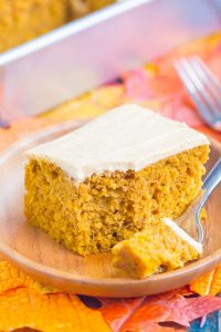 pumpkin spice cake on a plate with a fork