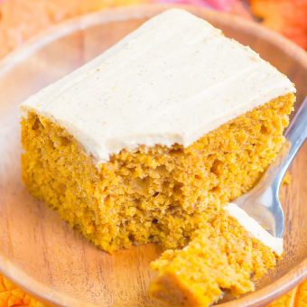 a bite of pumpkin spice cake on a fork