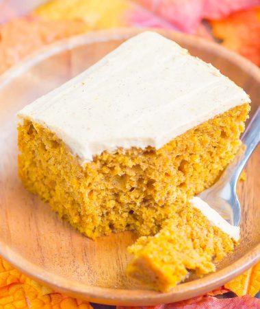 a bite of pumpkin spice cake on a fork