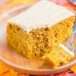This Pumpkin Spice Cake is a simple treat filled with cozy fall flavors. It's soft, moist and topped with an easy pumpkin cream cheese frosting. One bite and you'll fall in love with pumpkin all over again! #cake #pumpkincake #pumpkinspice #pumpkinspicecake #creamcheesefrosting #pumpkincreamcheesefrosting #pumpkinfrosting #fallcake #fallrecipe #falldessert #pumpkindessert #recipe